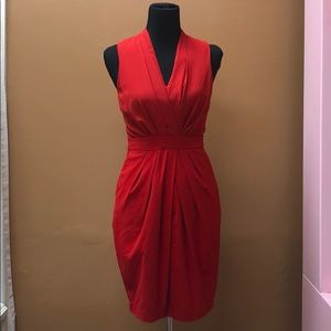 Red fitted mid length dress nice for winter